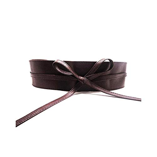 Awertaweyt Hüftgurt, High Quality Womens Soft Leather Wide Self Tie Wrap Around Obi Waist Band Boho Dress Belt Brown