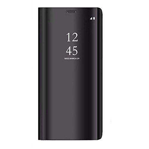 Coque Compatible/Replacement pour Samsung Galaxy A5 2017, Cover 360 °de Protection Intelligente Vue Claire Miroir De Electroplate Placage Kickstand Caractéristique Flip Housse Samsung A5 2017 (Noir)