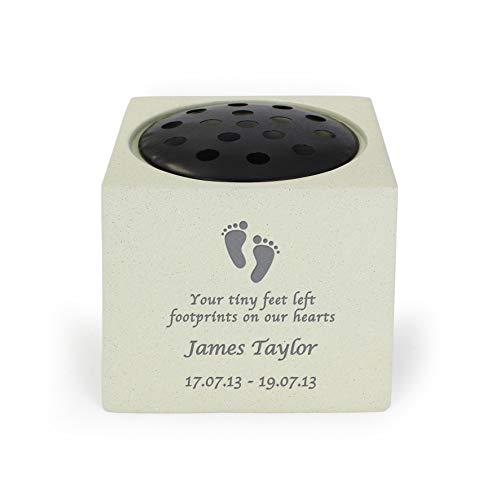 CalEli Gifts Personalised Vase Memorial. Baby Grave Ornament. Footprints Memorial Vase