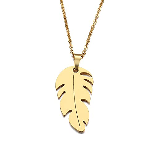 Retro Hojas Collar de Acero Inoxidable Plumas Colgantes Collares Joyería Oro