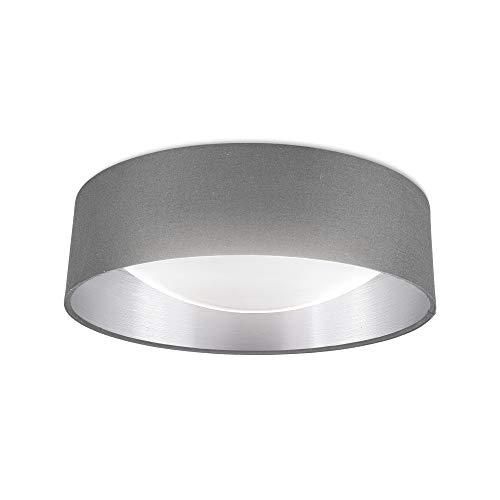 B.K.Licht I LED Stoff Deckenleuchte I Grau-Silber I 18W LED Platine I 2.200lm I 4.000K neutralweiße Lichtfarbe I Stofflampe I 40cm