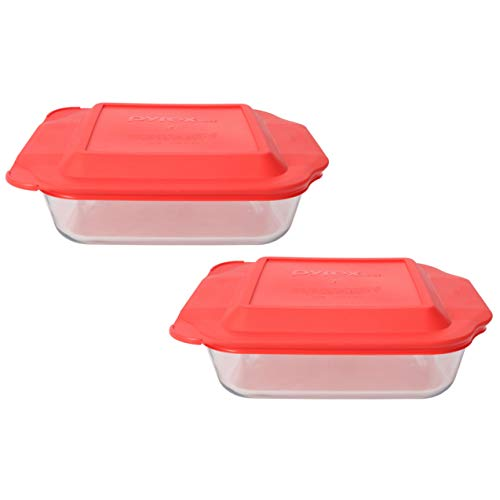 Pyrex (2) 222 Square Glass Baking Dishes & (2) 222-PC Red Lids