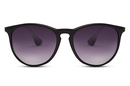 Cheapass Gafas de Sol Negro Lentes Redondos Vintage Mujer Hombre
