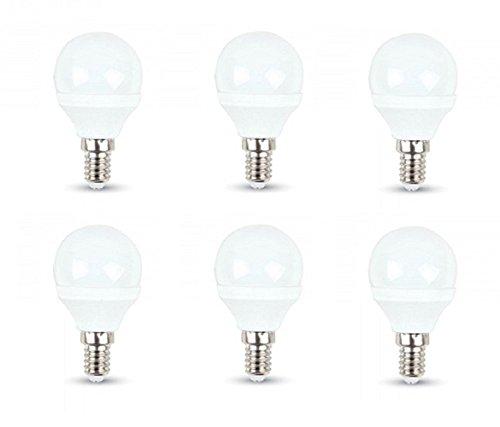 V-TAC LED-Leuchtmittel, 3 W, P 45, 6er-Packung mit E14-Schraubsockel, warmweißes Licht 2700 K, 250 Lumen, Kunststoffoberfläche, entspricht 25-W-Glühlampe
