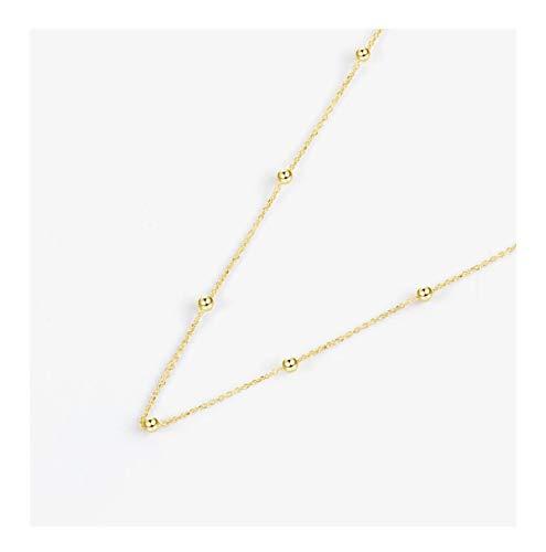 siqiwl Collar Moda 925 Plata esterlina gargantillas Collares para Mujeres joyería Bohemia Cadena de Cuentas Cadena clavícula Cadena para Boda de Regalo Gold