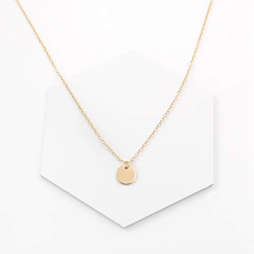 Aisansty Dainty Layered Gold Coin Choker Necklace Handmade Disc Pendant Chic Layering Necklace for Women Girls