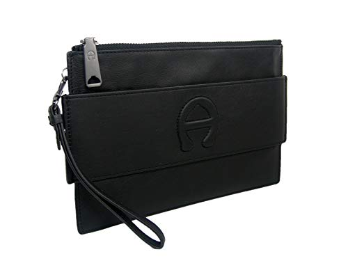 New Etienne Aigner A Logo Large Wristlet Purse Hand Bag Genuine Leather Black