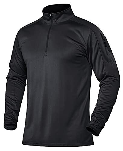 TACVASEN Herren Funktionsshirt Langarm Golf Sport Hemden Longsleeve Outdoor Pullover 1/4 Reißverschluss, Schwarz