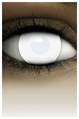 FXCONTACTS Farbige Halloween Kontaktlinsen weiß DEAD ZOMBIE, weich, 2 Stück (1 Paar), ACHTUNG: Nur 60% Sehvermögen - Ohne Sehstärke