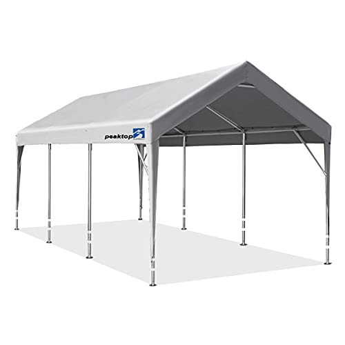10 x 20 ft Upgraded Heavy Duty Carport with Adjustable Heights from 9.5ft to 11ft,Portable Car Canopy, Garage Tent, Boat Shelter with Reinforced Triangular Beams and 4 Weight Bags