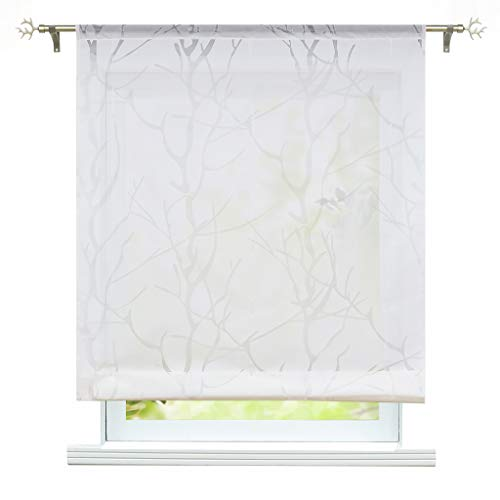 ESLIR Raffrollo Wohnzimmer Raffgardine mit Tunnelzug Gardinen Transparent Bändchenrollo Modern Vorhänge Ausbrenner Weiß #2 BxH 80x155cm 1 Stück