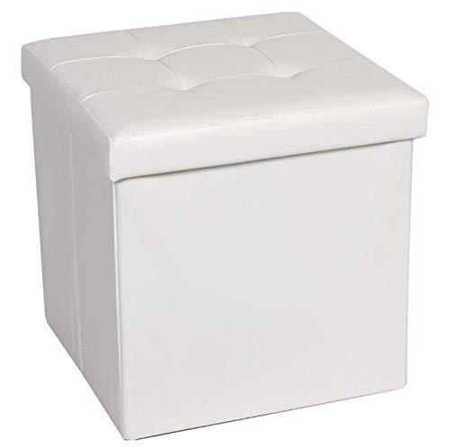 Altura 37 cm Puff Taburete de Punto Blanco Lino di/ámetro 55 cm