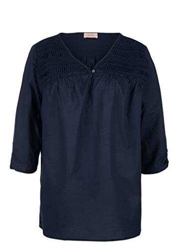 TRIANGLE Damen Voile-Bluse mit Embroidery Navy 52