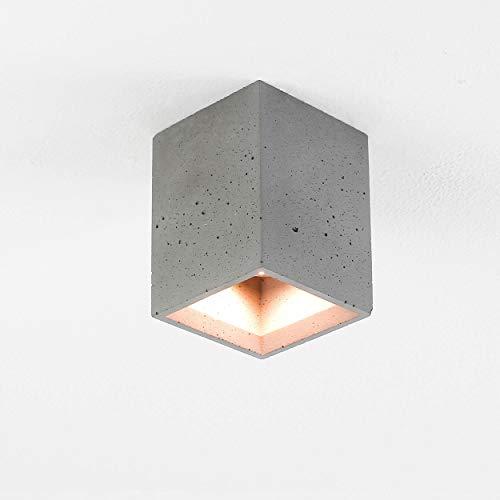 Deckenstrahler Beton Grau Kompakt Eckig Urbaner Stil GU10 L9cm Deckenleuchte Aufbaustrahler Flur Küche