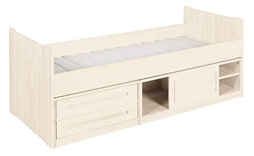 BioKinder Lina Stapelbed Functioneel bed Commodebed met schuifdeur, 2 lades en lattenbodem van massief houtgrenen 90 x 200 cm, voorkant wit gelakt