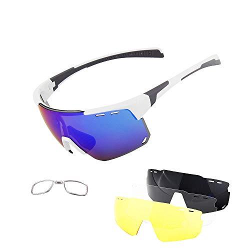 YQYQ 2020 Gafas Deportivas Polarizadas, Unisexo Gafas De Montar Ultraligeras E Indestructibles Protección UV400 con 3 Lentes Intercambiables Utilizado para Bicicleta, Pesca, Carrera, Golf, Viajes