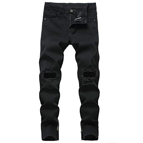 Pantalones Vaqueros Rasgados elásticos para Hombre Moda de Gran tamaño Ropa de Calle Lavada Pantalones de Mezclilla básicos Informales de Cintura Media Todas Las Estaciones 40