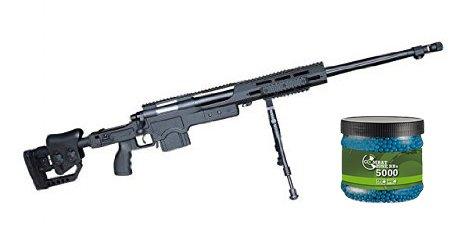 SET: G8DS® Sport Softair Pistole Scharfschützen Gewehr Federdruck Sniper unter 0,5 Joule unter 0,5 Joule 6mm Waffe ab 14 Jahren freigegeben 7667 + Umarex Combat Zone Softairkugeln blau 6mm 0,12g 5000 BBs