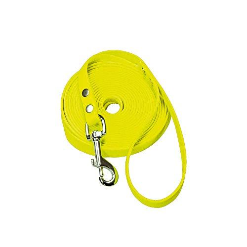 Schecker Biothane Schleppleine 5m / 9 mm gelb Hundeleine Übungssleine mit Handschlaufe