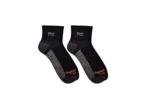 Timberland PRO Men's TB193826TD Coolmax Silver Infused Quarter Length Socks 2-P - Large - Black