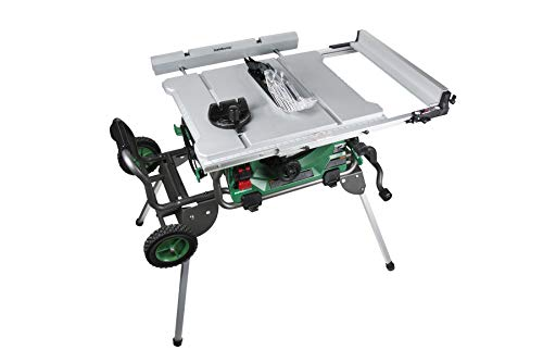Metabo HPT - C10RJSM Jobsite Table Saw, 10-Inch Carbide Tipped Blade, 35-Inch Rip Capacity, Fold & Roll Stand, 8 x 13/16-Inch Dado Capacity (C10RJS)