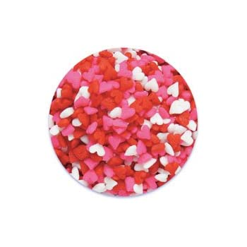 Edible Confetti Sprinkles Cake Cookie Cupcake Quins Valentines Day Red, Pink, White Hearts 8 Ounces