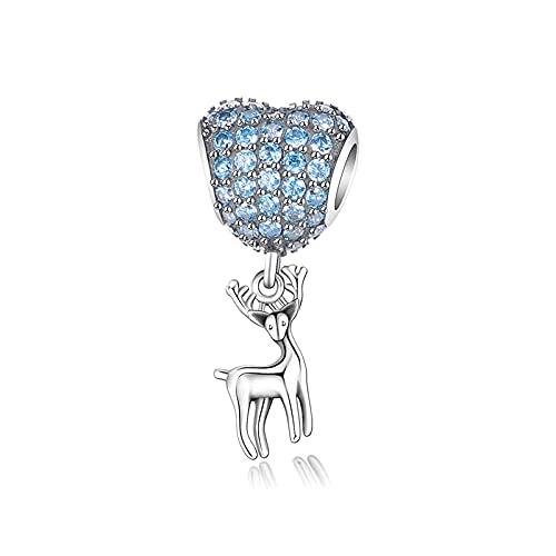 LIJIAN DIY 925 Cuentas De Plata con Dijes De Amor Genuino, Corazón Colgante, Ciervo, Adecuado Y De Moda, Haz Un Collar Original De Pandora, Pulsera Y Tobillera, Regalos para Damas