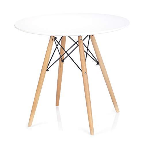 Homede Esszimmertisch Ø 80 cm MDF Platte Holz rund weiß Tebe