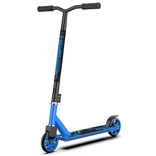 PTHZ Scooter Premium, Scooter de Habilidad Completa para Principiantes Freestyle Sports Kick Scooter, 2 Ruedas Extreme Scooter, Adecuado para niños de 8 años o más, niños, Adolescentes, Adultos,Azul