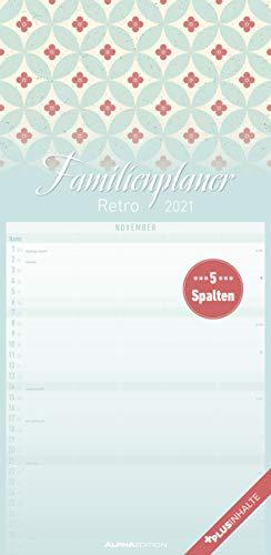 Familienplaner Retro 2021 - Familien-Timer 22x45 cm - mit Ferienterminen - 5 Spalten - Wand-Planer - mit vielen Zusatzinformationen - Alpha Edition