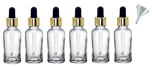 Avalon Lot de 6 flacons compte-gouttes en verre transparent de 30 ml avec pipette compte-gouttes en verre blanc et doré + entonnoir, réutilisable, rechargeable, respectueux de l'environnement, durable