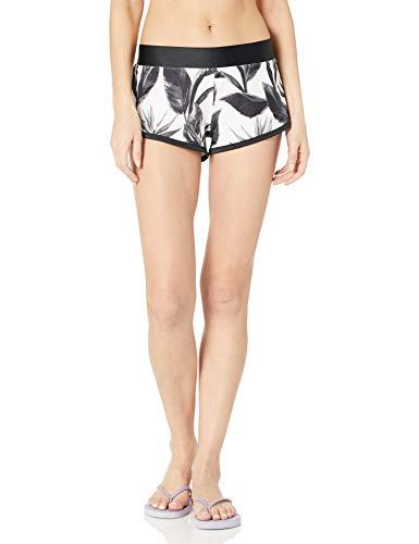 Body Glove Women's Pulse Elastic Waist Hybrid Pull On Swim Short with UPF 50+, Black White Floral, Medium