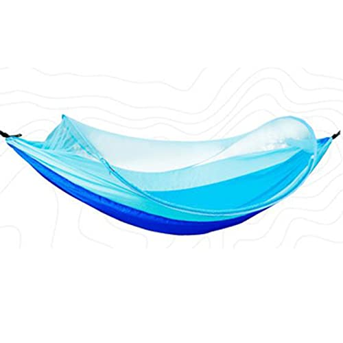 YMDA Hamaca de Tela de paracaídas Individuales y Doble al Aire Libre, Hamaca de Camping al Aire Libre de Ocio, Columpio de Picnic, Hamaca Anti-mosquitera