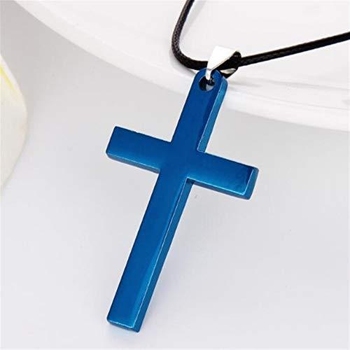 4 Colores Plateado Men Christian Eslabones Collares Colgante De Acero Transversal Maciza De Color Joyas Versión Coreana Gargantilla Regalo #345 (Metal Color : Blue)