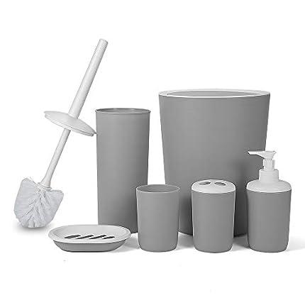 Hoomtaook Accesorios Baño Juego de Accesorios para Baño Set de Baño 6 Piezas Plástico PP no tóxico Gris