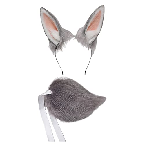KAMONDA Diadema y Cola, Aro de Pelo de Felpa Lolita Orejas de Conejo Headwear Conjunto de Cola Diadema Peluda Tocado Lindo Anime Disfraz Accesorios de Cosplay