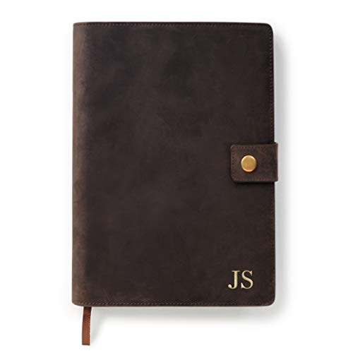 Full Grain Premium Leather Refillable Journal Cover with A5 Lined Notebook, Pen Loop, Card Slots, Brass Snap by Case Elegance (Monogrammed Brown)