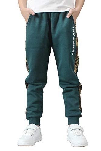 Rolanko Pantaloni Ragazzo,Pantaloni Tuta Bambino,Pantaloni da Jogging in Cotone,Pantalone Sportivi Mimetico Bambino(Verde, 8-9 Anni)