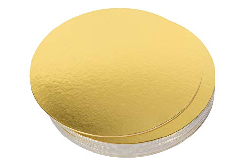 Rendibly Cake Boards 10 Inch Round Gold Compressed Cardboard Cake Circle Base, Ideal for Circle Cakes, Pies, Pizza Circles, Pack of 20