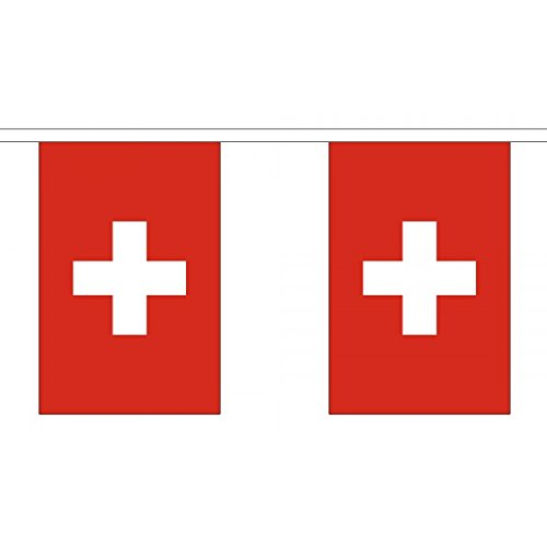 "3 Metres 10 (9"" x 6"") Flag Switzerland Swiss 100% Polyester Material Bunting Ideal Party Decoration For Street House Pubs Clubs Schools"