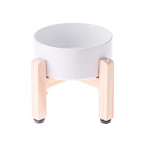 LIONWEI LIONWELI White Ceramic Elevated Raised Cat Bowl with Wood Stand No Spill Pet Food Water Feeder Cats Small Dogs