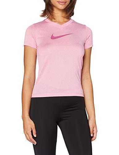 NIKE Dry Leg Vneck Swoosh T-Shirt Camiseta, Rosa (Magic Flamingo/Htr), (Talla del Fabricante: Medium) para Hombre