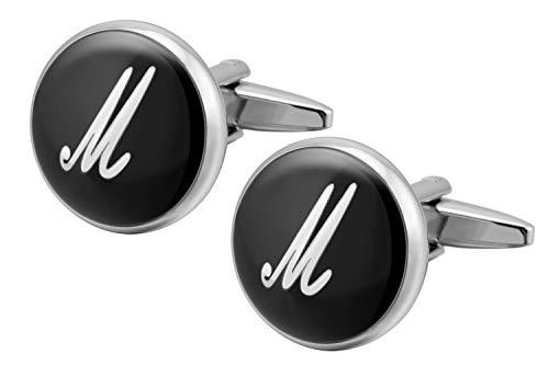 Gemony 1 Paas Men's Cufflinks Hochzeit Shirt Manschettenknöpfe Geschenkbox - Premium Qualität Personalisierte Buchstaben M