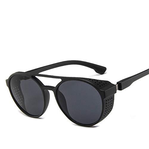 BVFRA Sonnenbrille,Mode Retro Polarisierte Nasengriff Seitenschutz Runde Schwarze Linse Designer Kunststoffrahmen Uv400 Schutzbrille Für Sportfahrer Mountainbiken Golf Light Goggle Eye