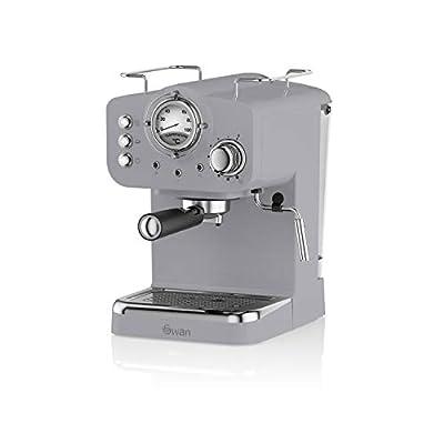 Swan SK22110GRN, Retro Pump Espresso Coffee Machine, 15 Bars of Pressure, Grey