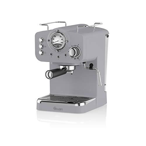 Swan Retro pump espresso kaffemaskin, grå, 15 stänger med tryck, mjölkskummare, 1,2 L tank, SK22110GRN