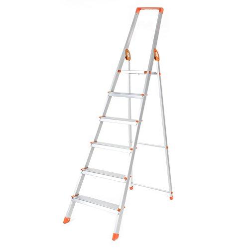 Bathla Prime 6-Step Foldable Aluminium Ladder with Multi-Utility Support Handle (Orange)