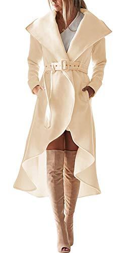 SAUKOLE Women's Winter Wool Trench Coat Wrap Large Collar High Low Jacket Outwear with Belt Beige