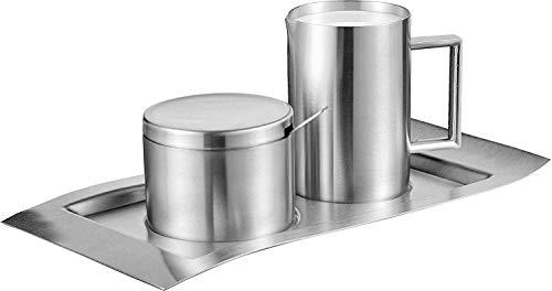 Esmeyer Zucker-& Milchset Wave 5-TLG, Edelstahl, Silber, 26.3 x 15 x 7.6 cm