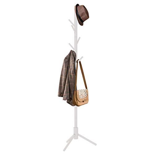 ZRI Bamboo Jackenständer Holz Garderobenständer Kleiderständer mit 8 Haken Freistehend 50x50x176cm (Weiß)
